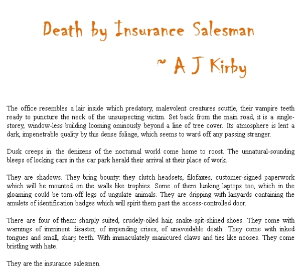 Death by Insurance Salesman Screenprint